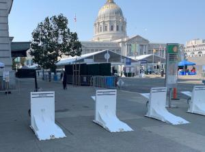 barriers protect voting location in San Francisco