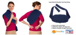 Microwavable heating wraps for lower back pain relief.  These heat wraps can help relieve shoulder joint pain associated with rotator cuff injury.