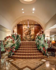Staircase with holiday decor