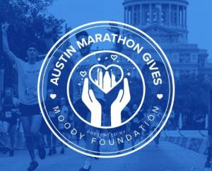 Runners cross the 2020 Austin Marathon finish line with the Texas State Capitol in the background. Overlaying the image is the new logo of Austin Marathon Gives, the Austin Marathon's philanthropic program. Learn more at https://youraustinmarathon.com/aus