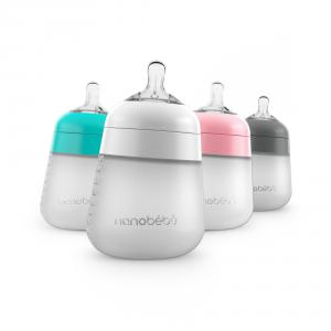The Flexy Silicone Bottle product image with all 4 colors: pink, teal, gray, and white.