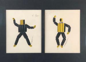 Works on paper by Erté will be led by a pair of gouache on paper paintings titled Two Robot Costumes for Theatre, each signed lower right in ink and framed together (est. 2,000-$4,000).
