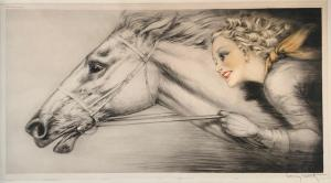 "Icart works on paper will be led by a drypoint and aquatint etching titled Thoroughbreds (or ""Pur-Sang""), done with hand-coloring in 1938, signed in pencil lower left (est. $2,000-$4,000)."