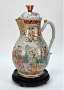 18th or 19th century Chinese Export famille rose porcelain cider jug, 15 ½ inches tall, 10 inches in diameter and decorated with a hunting scene in a central cartouche (est. $1,500-$2,500).