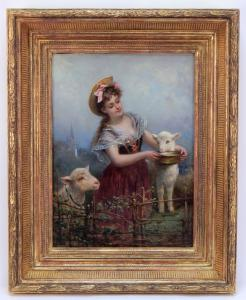 Oil on canvas portrait of a young maiden dressed in red, feeding two lambs at her sides, by Eugene Joseph Lejeune (French, 1818-1897), signed lower right (est. $1,000-$1,500).