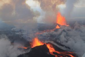 The Bárðarbunga basaltic eruption in 2014-15 covered 33 square miles of land in central Iceland.