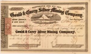 Rare, early stock certificate for Gould & Curry (Virginia City, Nev.), one of the key producers on the Comstock, datelined San Francisco Jan. 13, 1865, one of 12 known (est. $800-$1,200).