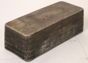 Silver ingot from the U.S. Assay Office in San Francisco, the product of five pours in the 1940s, held by the same family since its original purchase, 1016.70 troy oz. (est. $24,000-$35,000).