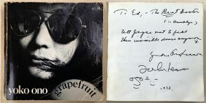 Copy of Yoko Ono's book Grapefruit, originally published in 1964, signed by John Lennon and twice signed by Yoko. The book has become famous as an early example of conceptual art.