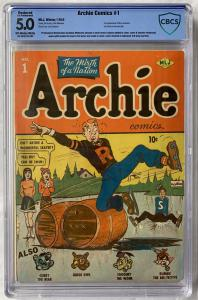 Included in the sale will be a terrific selection of comics in both single and group lots, as well as CBCS graded examples. Key books include Archie #1 shown here (1942, CBCS 5.0).