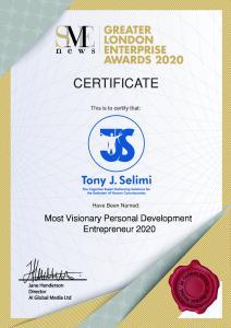 SME news announces Tony J. Selimi as the winner of Greater London Enterprise Awards 2020
