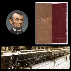 """Sizable (over 8"""" x 10"""") fragment of an American flag that decorated Lincoln's funeral train as it traveled between Indiana and Springfield, Illinois (est. $2,400-$2,600)."""