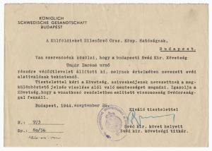 Paper signed by the Swedish diplomat and humanitarian Raoul Wallenberg, dated Sept. 26, 1944, documenting his efforts to help Ungar Imrene Urno survive the Holocaust (est. $9,000-$10,000).