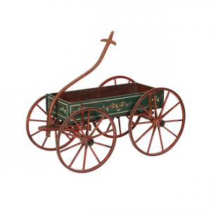 Canadian-made Wettlaufer decorated child's wagon (Oxford County, circa 1890), one of only five masterpiece wagons made for Adam Wettlaufer's grandchildren (CA$5,900).
