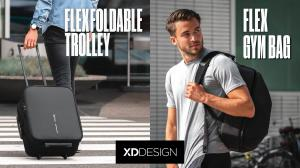 XD Design Flex foldable trolley in a luggage mode and the Flex Gym bag in a business suitcase mode