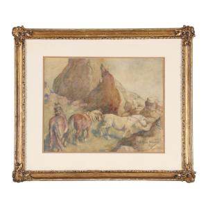 Original painting signed by the renowned Western American artist Frederic Remington (1861-1909), depicting horses moving through rocky terrain, done in the 1890s (est. CA$4,000-$6,000).