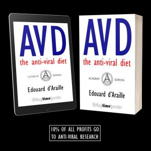 'AVD' eBook on iPad and 'AVD' Academic Paperback next to it. Text says 10% of Profits go to Anti-Viral Research.