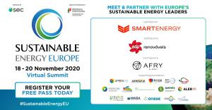 Sustainable Energy Europe Summit Sponsors & Supporters include Smartenergy, EDP Renewables, AFRY, APREN, APESF, RNAE, AP2H2, APVE, EnergyIN, Lisboa e Nova, EREF, Apemeta, ALER, EUREC, NWBA, ANESE