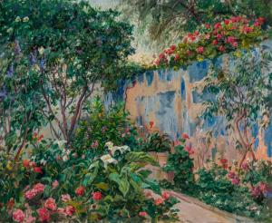 Oil on canvas painting by Eliseo Meifren y Roig (Spanish, 1857-1940), titled Garden of the Artist on Majorca, signed, 24 inches by 29 inches (est. $15,000-$25,000).