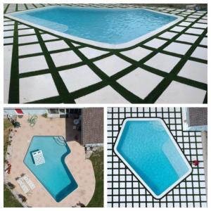 Elements Pools Palm Beach, Florida Photo of Before and After Pool Renovation, Resurfacing, New Tile, Travertine Pavers, Synthetic Grass and Sun Shelf
