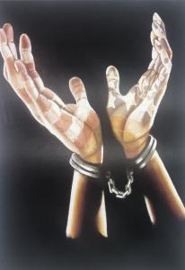 Prisoner Print - hands in cuffs with the flag reflection