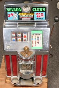 1960s-era 25-cent Jennings slot machine from the famous Nevada Club Casino, a must-have for collectors of Lake Tahoe items, featuring the classic Jennings Indian Head in brass ($2,625).
