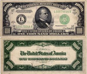 $1,000 note from the Federal Reserve Bank of San Francisco (Series of 1934-A), in VF-to-EF condition, Fr. 2212-L, featuring a portrait of President Grover Cleveland ($2,500).