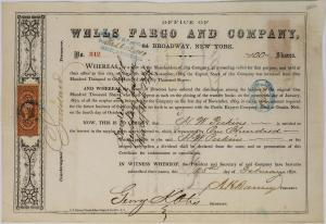 Rare Wells Fargo and Company (N.Y.) stock certificate from 1870, certificate #312, issued for 100 shares to H.W. Perkins, signed by the company president, treasurer and secretary ($2,875).