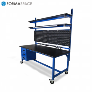 workbench with louvered panels