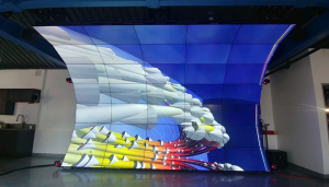 Front view of immersive virtual reality display that curves over users heads for viewing the 3D map of the universe