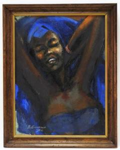 """1962 oil on canvas portrait by Ben Enwonwu (Nigerian, 1917-1994), of Constance """"Afi"""" Ekong, signed and dated lower left, 16 inches by 12 inches (sight) (est. $50,000-$100,000)."""