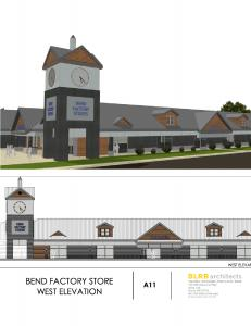 Rendering of The Bend Factory Stores Exterior Renovation of the West Elevation