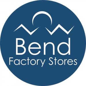 The Bend Factory Stores Logo within a blue circle
