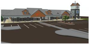 Rendering of The Bend Factory Stores renovation at clocktower and tenants Nike and Columbia Sportswear