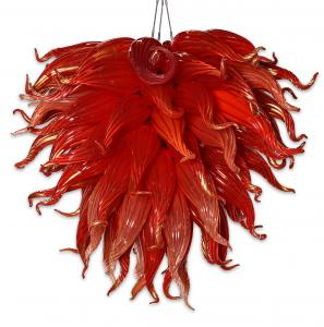 Red ochre blown glass chandelier by Dale Chihuly (American, b. 1941) (est. $40,000-$60,000).
