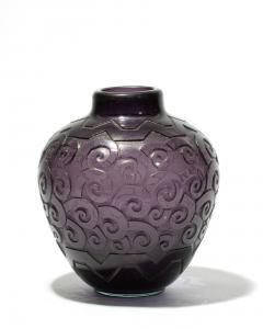 Daum Nancy cut dark amethyst glass vase, circa 1930 (est. $2,000-$3,000).
