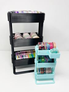 Two carts side by side full of washi