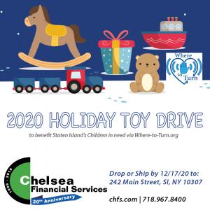 Image of 2020 Holiday Toy Drive Instagram Post with details recapitulated from the Press Release