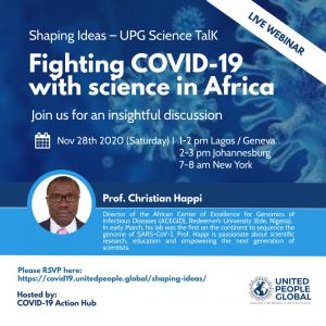 Image of a poster announcing a webinar session with Professor Christian Happi