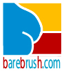 Art logo for Barebrush website in Red, Yellow and Blue