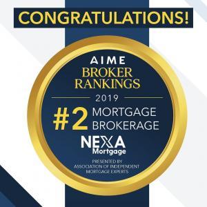 NEXA Mortgage Award - #2 Mortgage Broker in the USA for 2019