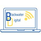 The Blackwater Digital logo is an outline in blue of an open laptop, on the laptop screen it says Blackwater Digital in blue, the D in Digital is colour yellow