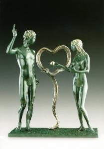 Bronze sculpture Adam and Eve by Salvador Dalí (1904-1989) captures the moment of drama in the creation story.