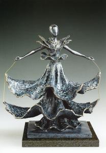 The beautiful swirl of a flamenco dancer's dress is shown in Salvador Dalí's (1904-1989) bronze sculpture Dalinian Dancer.