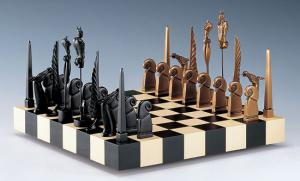 The surreal chess pieces in Paul Wunderlich's (German, 1927-2010) A Game of Chess show influence from Salvador Dalí.
