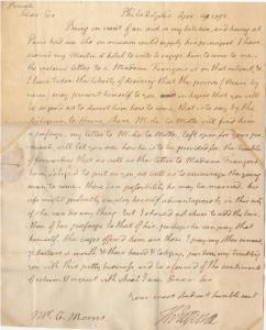 Signed letter from Thomas Jefferson to Gouverneur Morris requesting assistance with hiring a French chef, written and sent in 1792 (est. $14,000-$16,000).