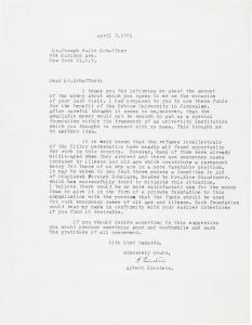 Typed letter signed by Albert Einstein suggesting businessman Joseph Halle Schaffner donate to the Committee in Aid of Displaced Foreign Scholars (est. $9,000-$11,000).