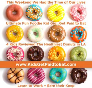 In December 2020, Recruiting for Good created super sweet community gig 'Kids Get Paid to Eat.' On the gig kids tasted and reviewed LA's Healthiest Donuts. #kidsgetpaidtoeat #donutsgoodforyou www.KidsGetPaidtoEat.com