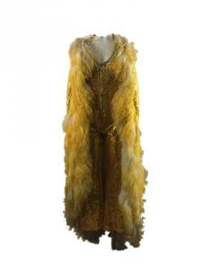 Two-piece ensemble created by Bob Mackie for Debbie Reynolds' 1976 Broadway musical Debbie, a gold sequin jumpsuit with rhinestone trim and ostrich feathers (est. $5,000-$7,000).