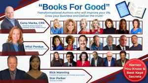 """Books For Good"" 2% of every book purchased is donated to help ""Vets-Pets & Kids!"""